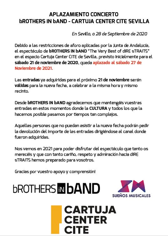 Aplazamiento concierto brothers in band 1