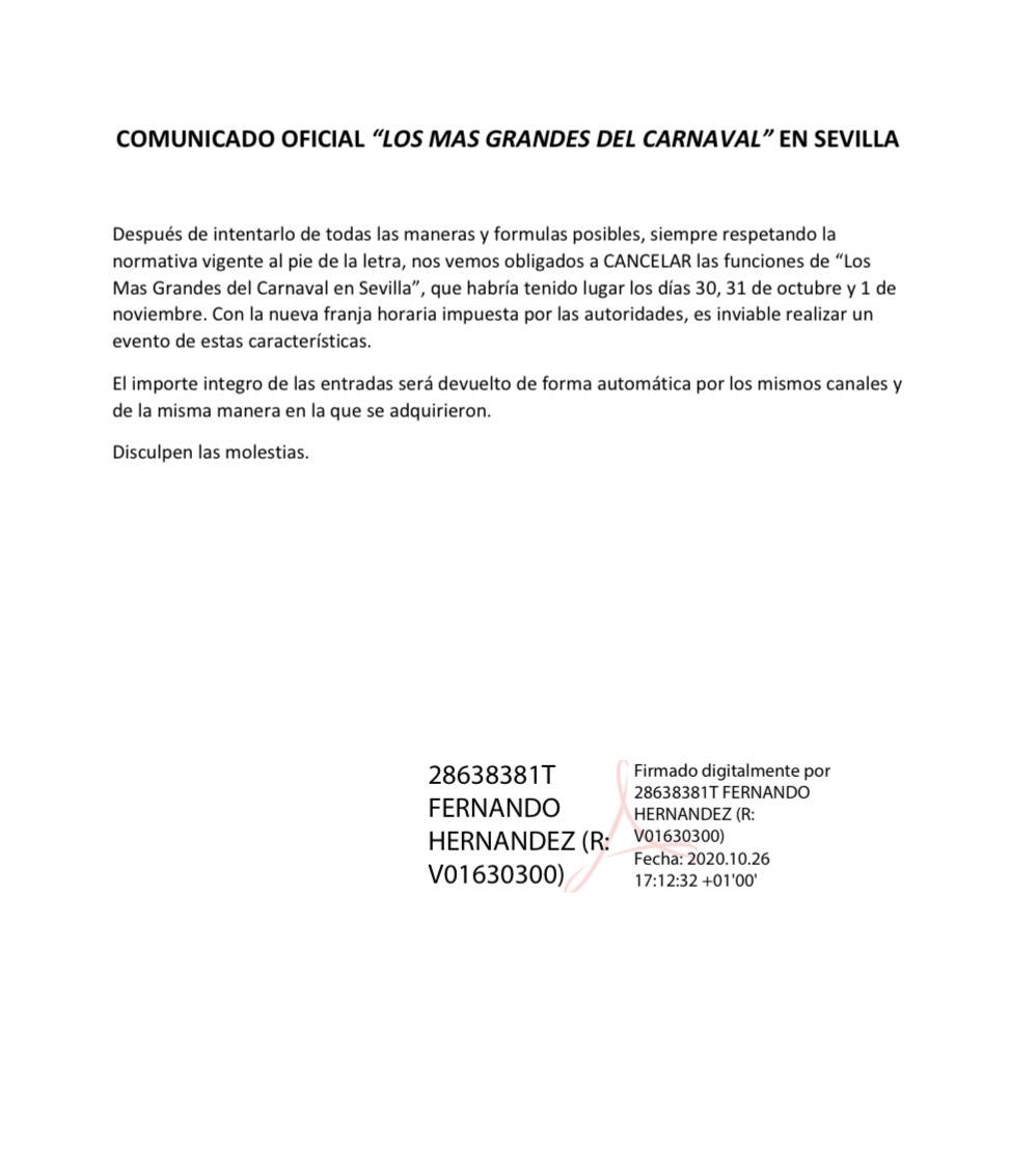 COMUNICADO CANCELACIÓN 'LOS MÁS GRANDES DEL CARNAVAL' 1