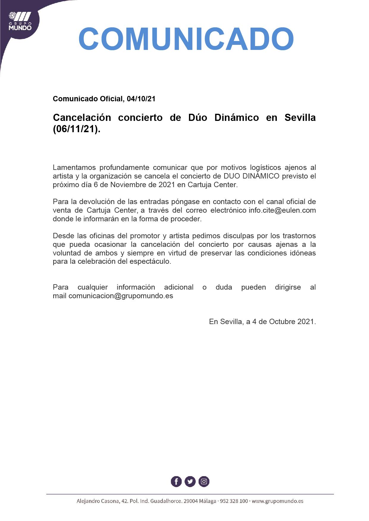 CANCELADO EL CONCIERTO DEL DÚO DINÁMICO 2